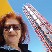 Ros Bandt - in front of the City Line Stack in Melbourne